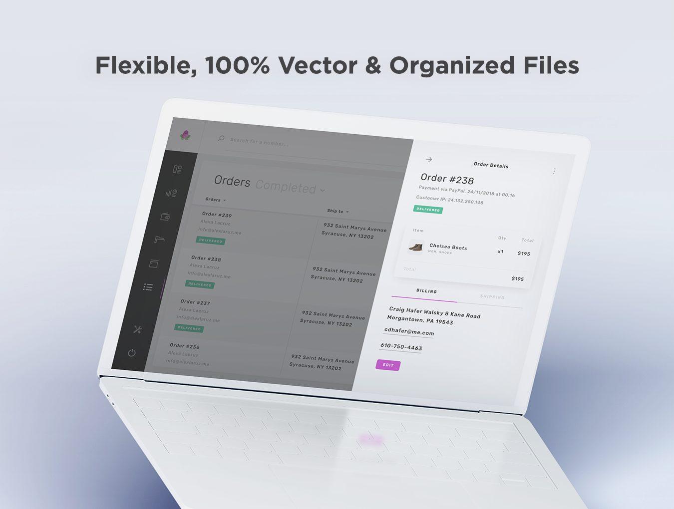 WEB端高品质后台数据系统应用UI Violett Web UI Kit