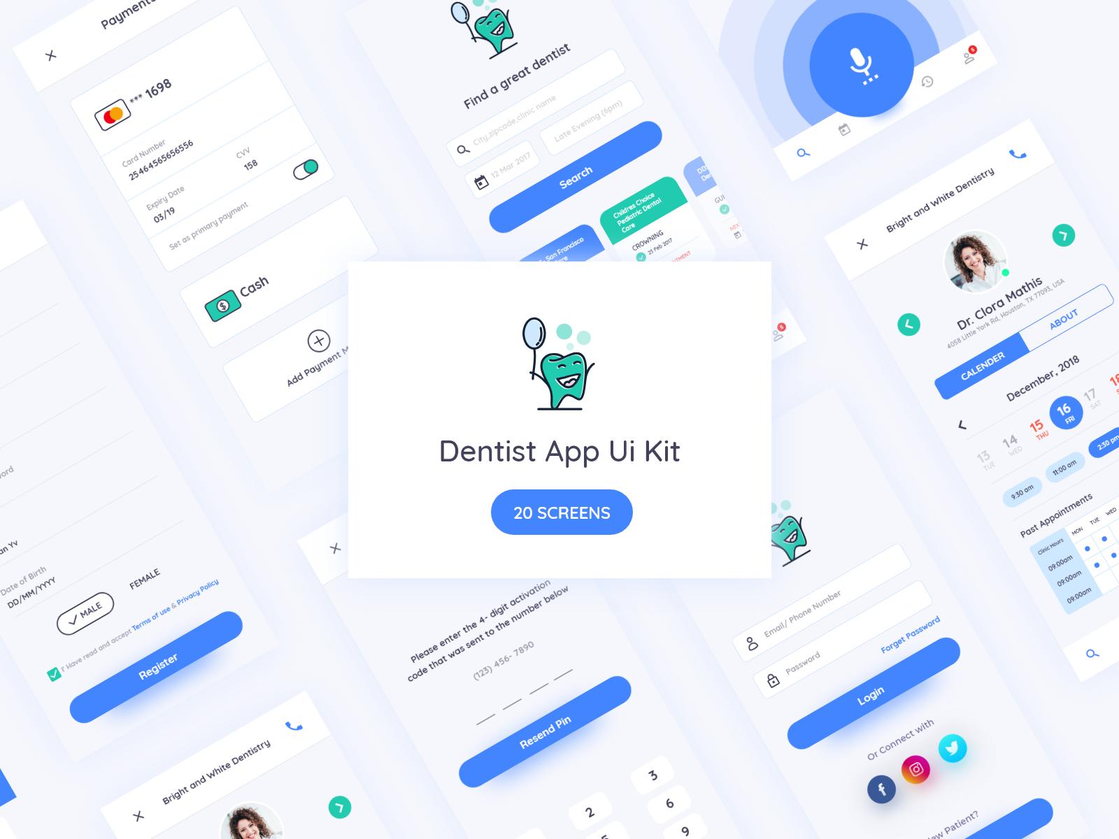 精致温馨牙医医疗清洁口腔App Ui KitDentist App Ui Kit