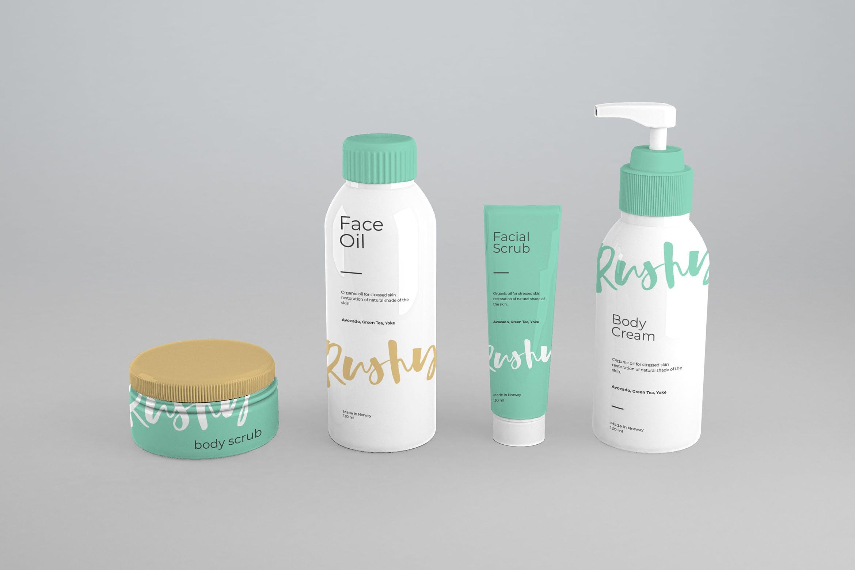 精致夏季配色洗化用品样机模板 瓶子展示效果Cosmetic Packaging Mockups