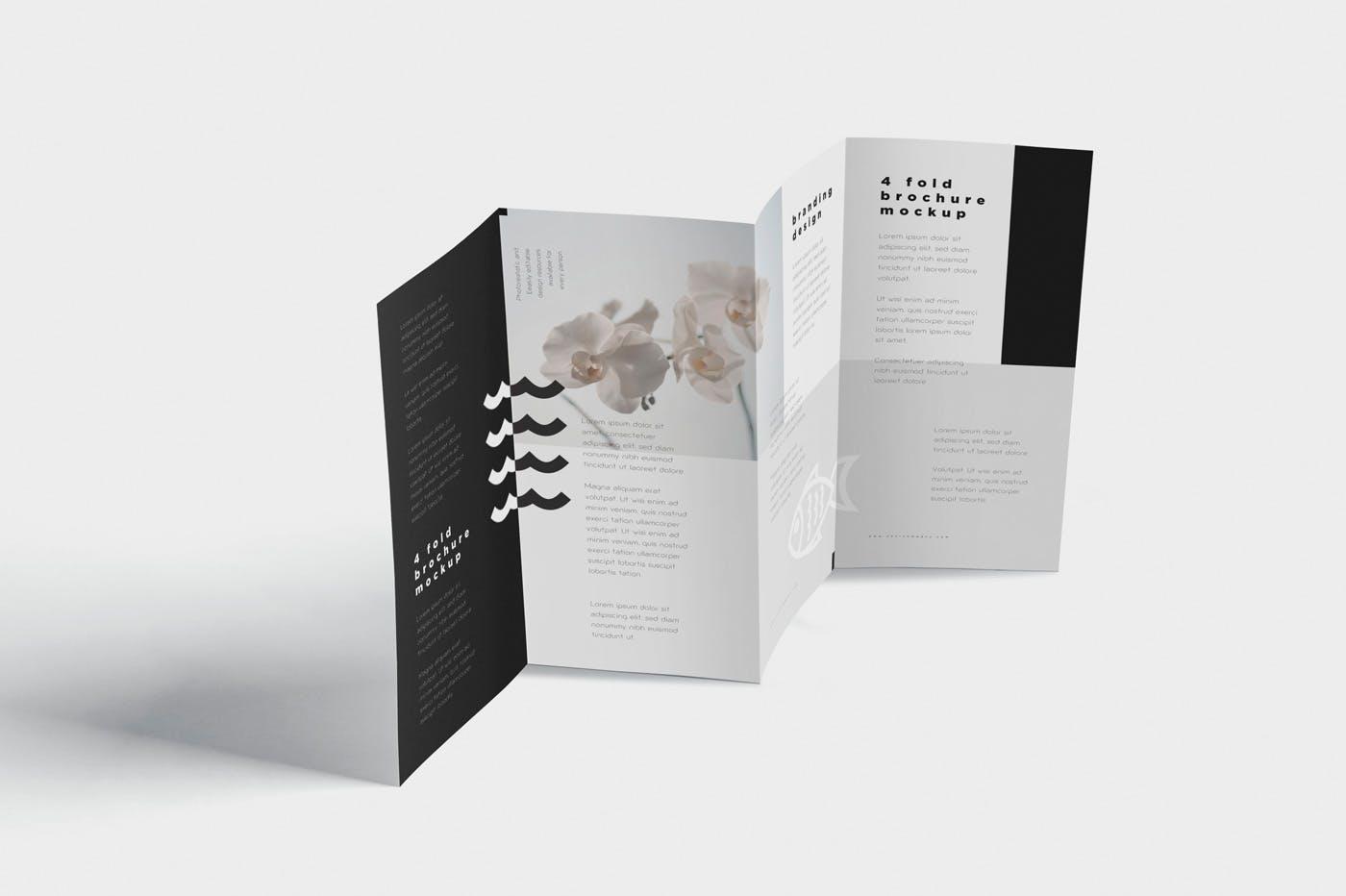 三折页日式料理样机模板  素材4 Fold Brochure Mockups