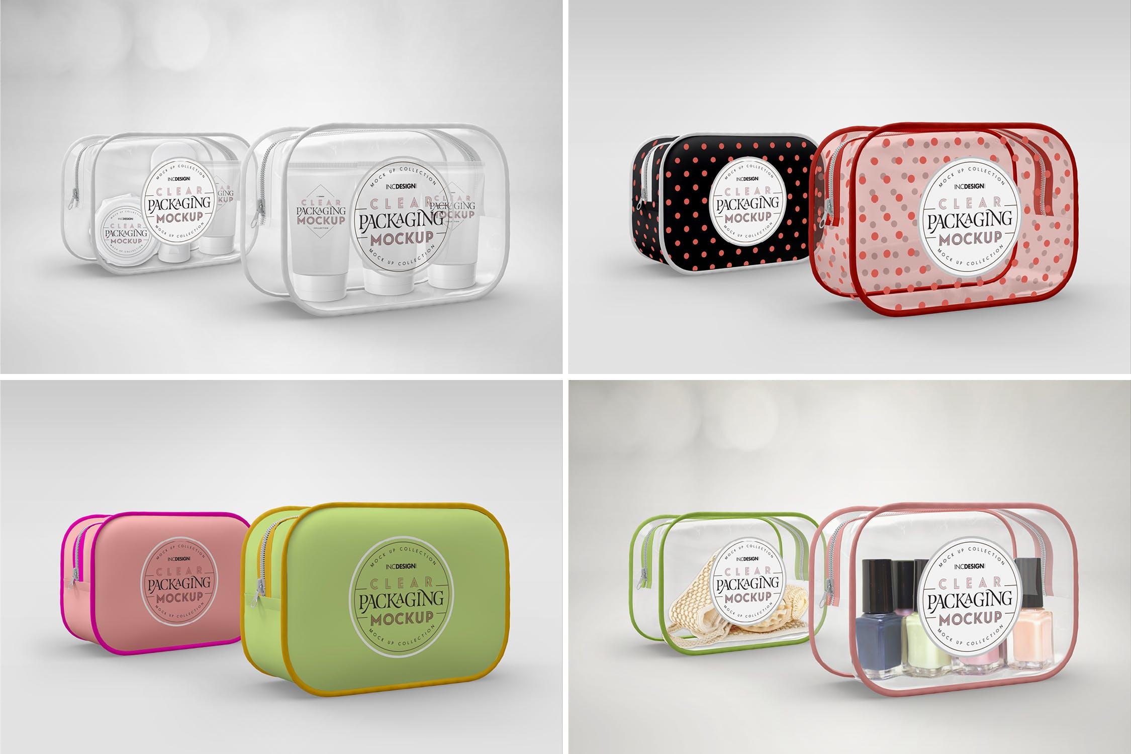 女士化妆品洗化用品手包样机模板展示Clear Opaque Zipper Case Mockup