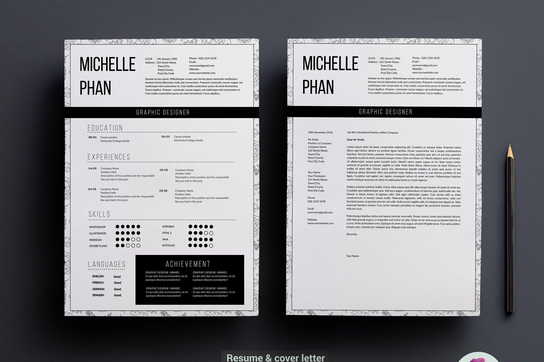 精致优雅超现实简历模板展示 Modern 1 page resume