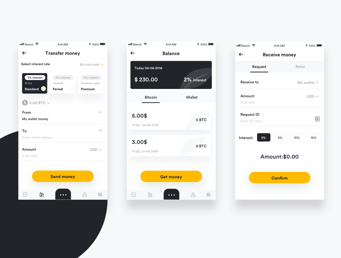 精美的黄色金融APP UI工具包 Blok Financial UI Kit
