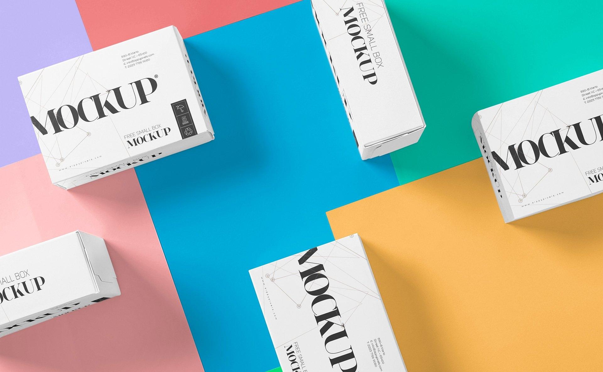 美丽多色的包装盒场景样机智能样机贴图275 small box mockup插图