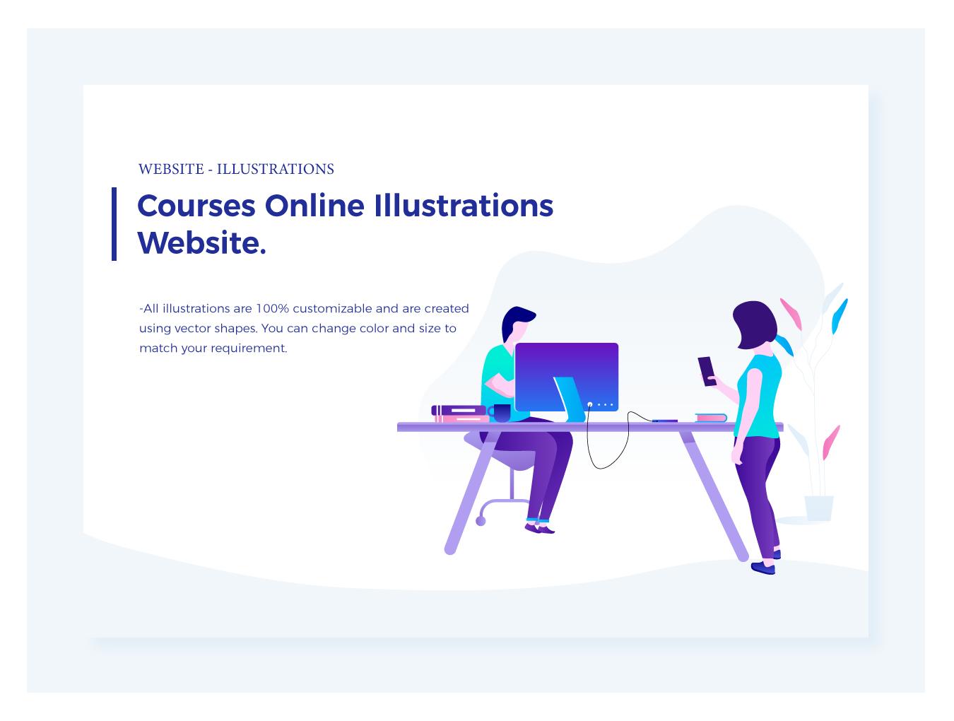 WEB端后台数据插画 Marketing & Courses Illustrations