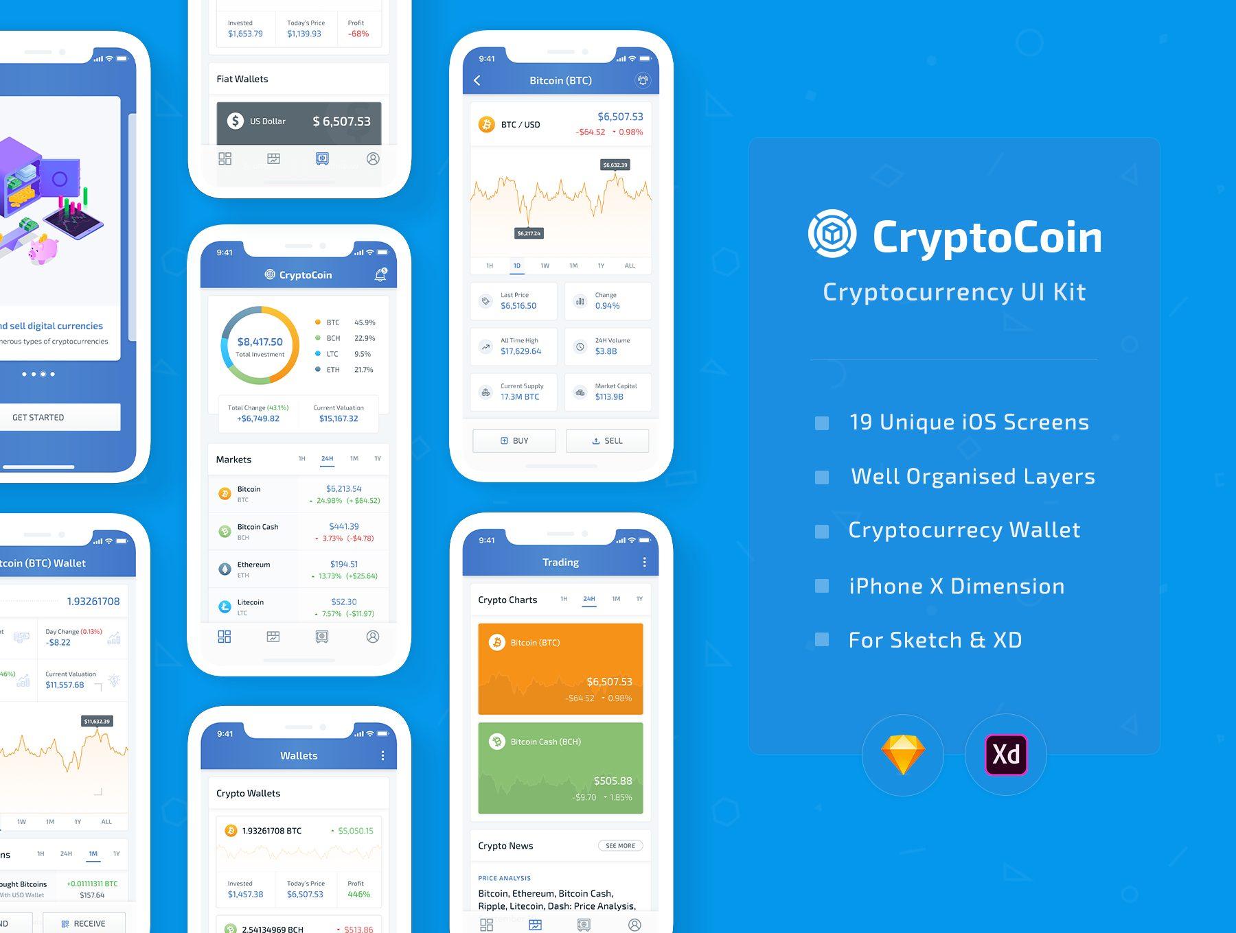 IOS12风格金融投资行业APP  CryptoCoin数字货币UI