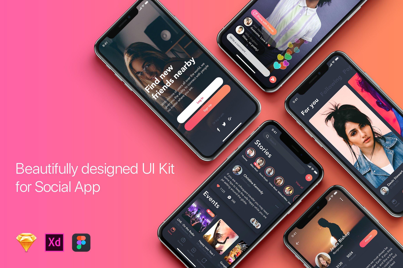 优雅渐变风设计社交应用UI工具包Zingo - Social App UI Kit