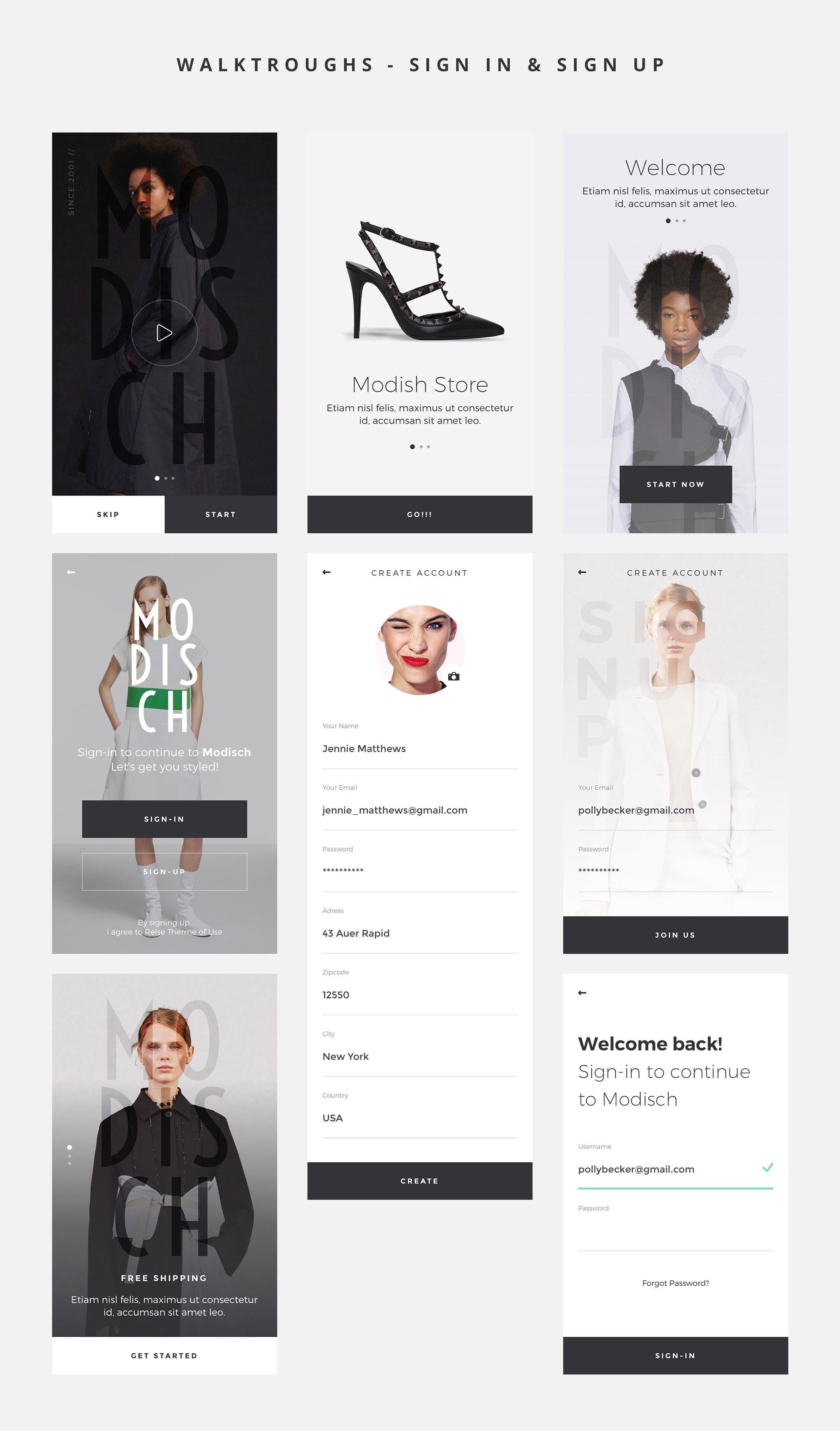 时尚简约女性服装行业电商APP  Modisch iOS UI Kit