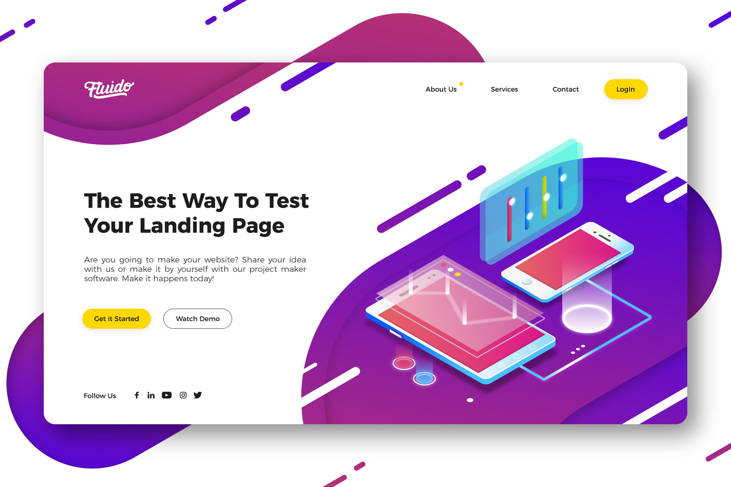 WEB端个性官网网页设计UI设计 Technology website hero header template