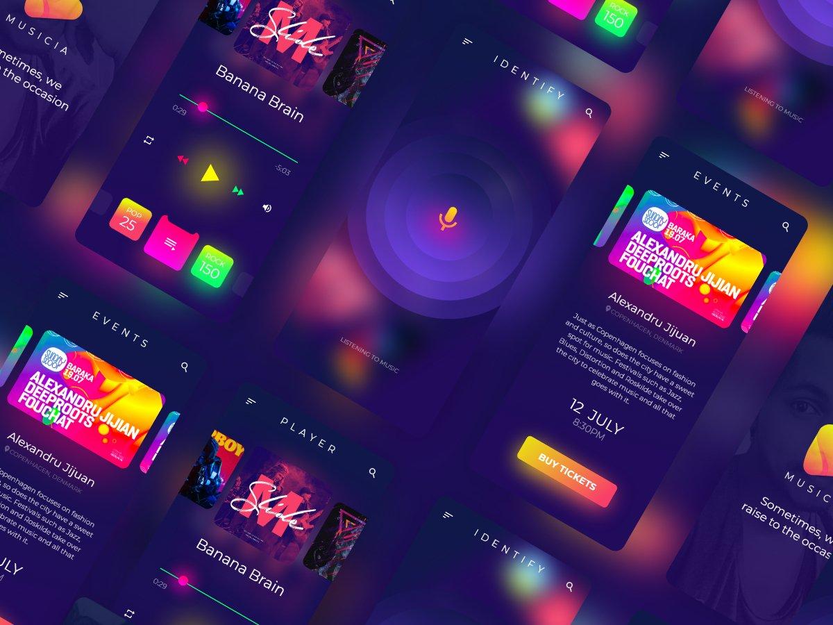 一款炫酷娱乐影音乐应用APP UI设计