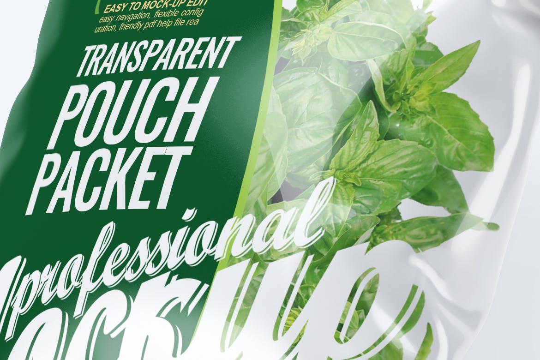 精致透明塑料袋食品包装设计VI样机智能贴图样机transparent-pouch-packet-mock-up