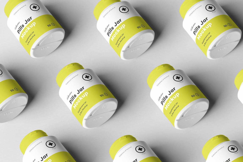 精致药品包装设计VI保健品样机展示模型pills-jar-mock-up