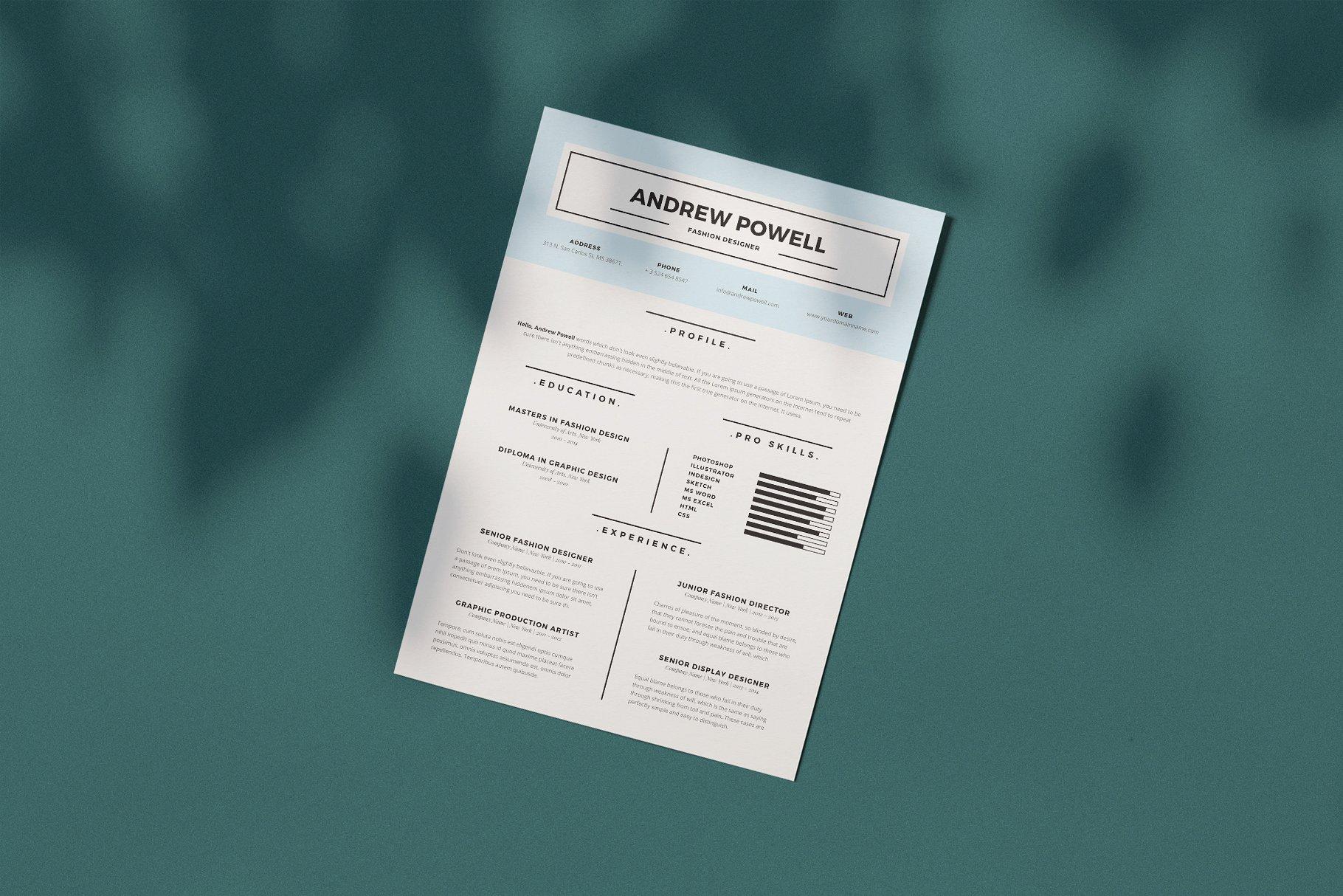 优雅简洁简历模板展示Clean Resume With Business Card