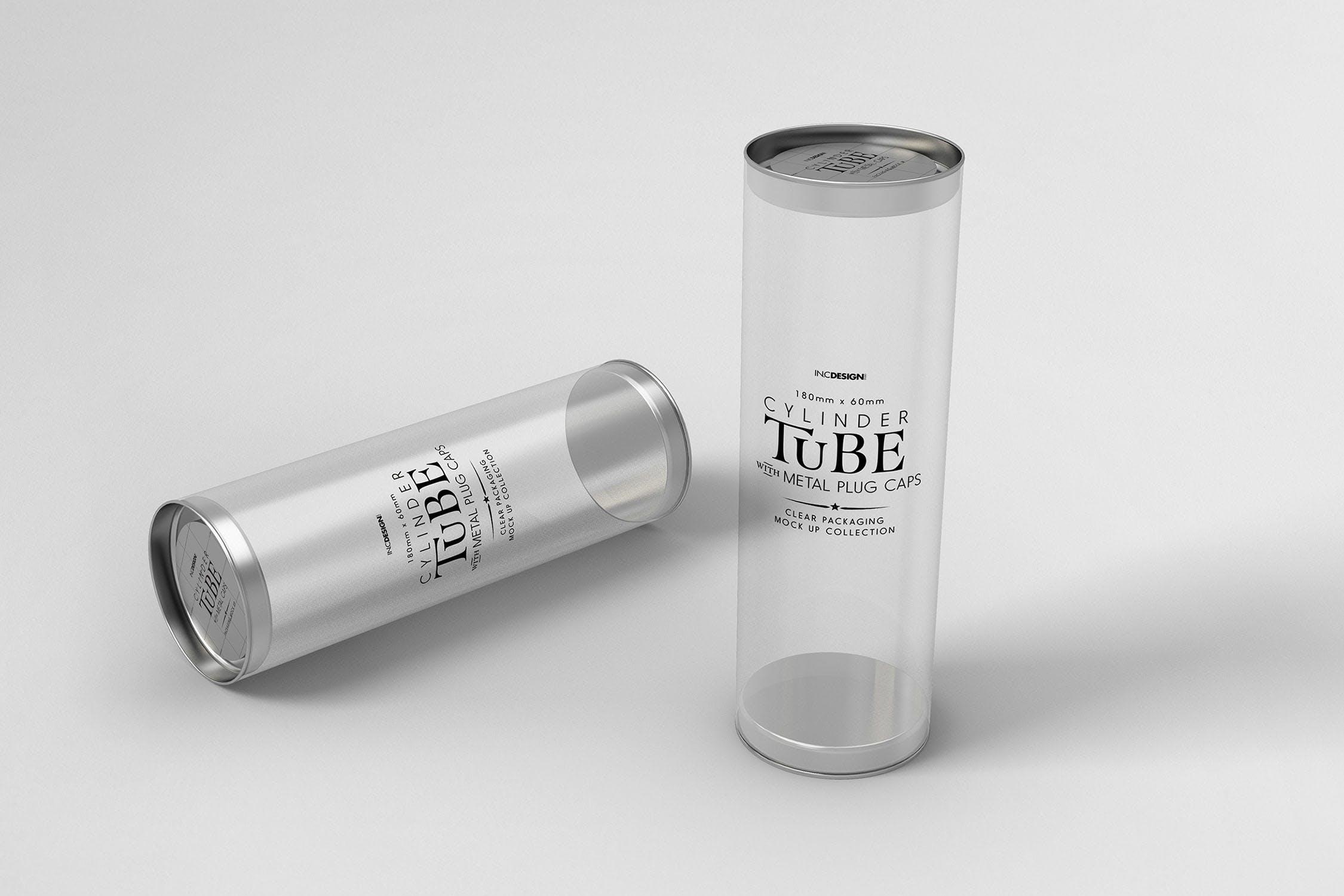 180mm透明圆筒包装样机素材模板展示180mm Clear cylinder Packaging Mock Up