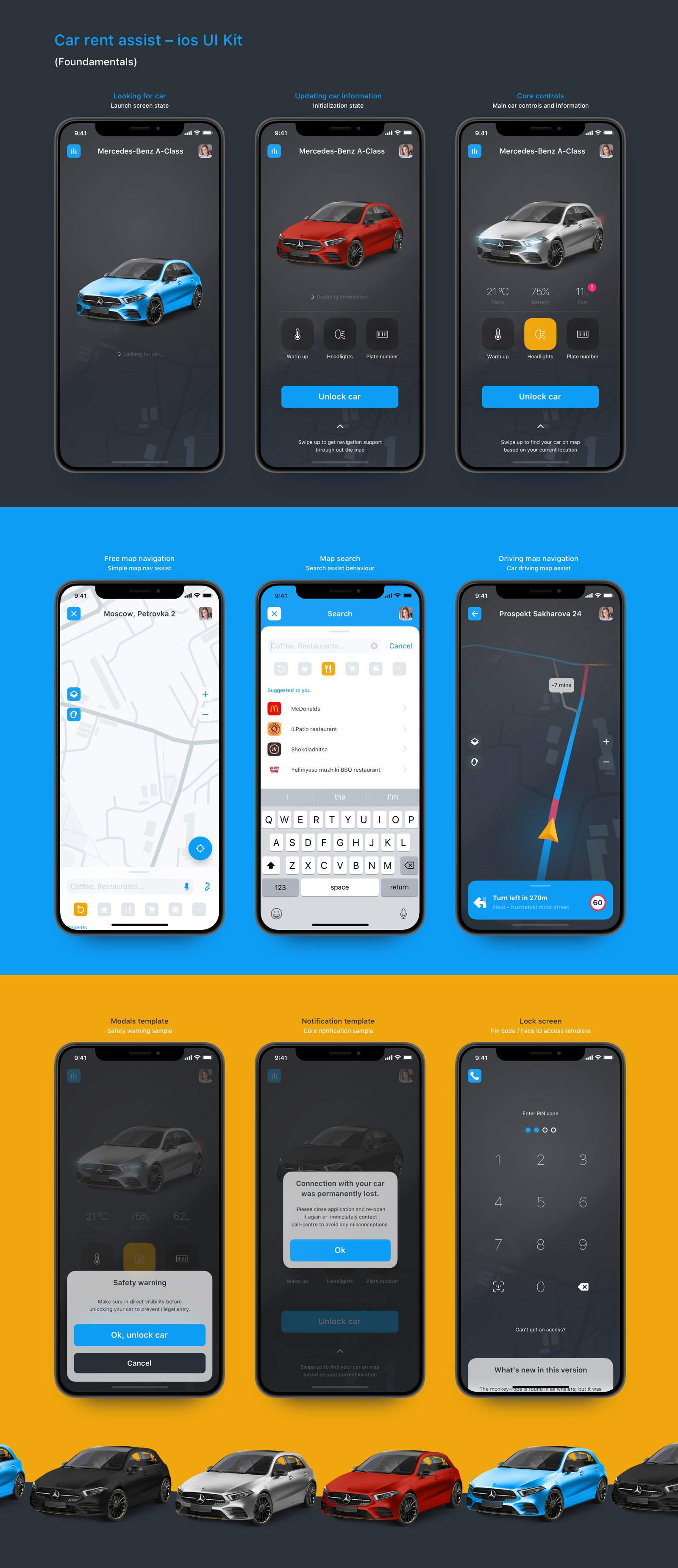 一款超酷的汽车行业APP Car rent assist iOS UI kit