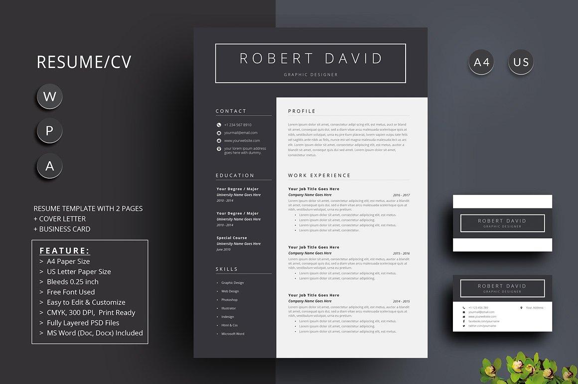 经典黑白简约设计方案简历展示模板