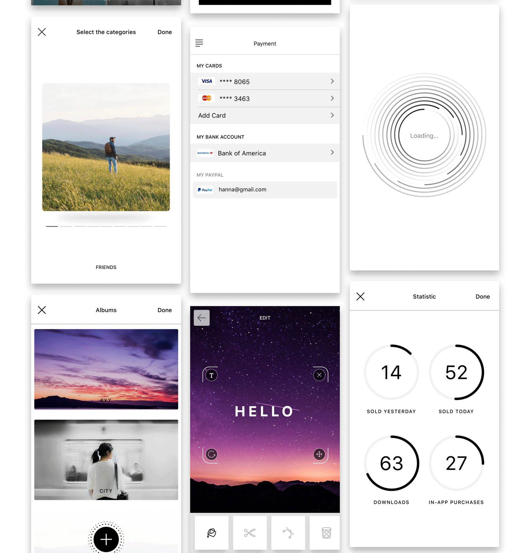 国外扁平风格手机应用APP UI  Hello UI Kit Mod. 2