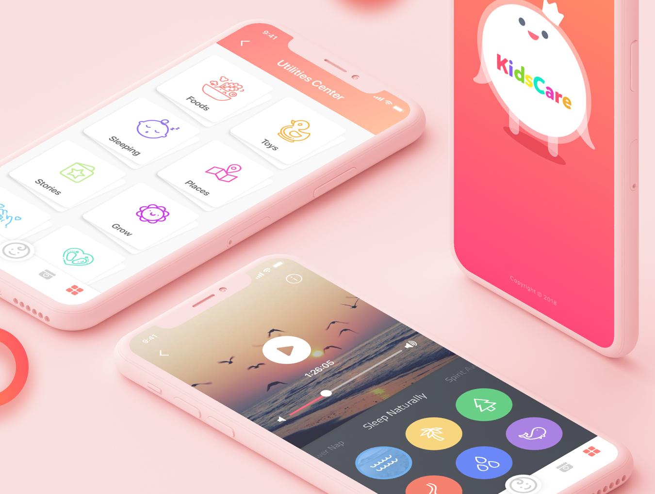 幼儿园儿童健康跟踪管理系统APP设计 UI工具包 KidsCare UI Kit