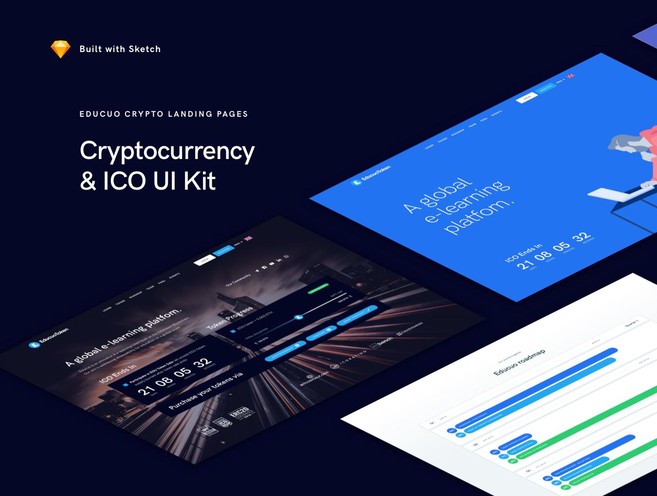 WEB端教育官方网站网页设计Educuo ICO UI Kit