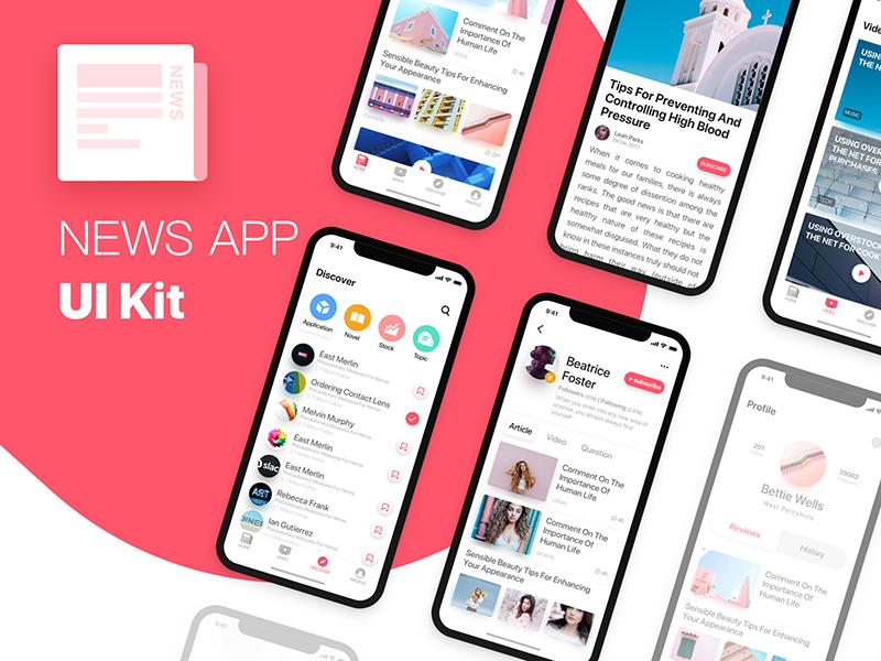 一款扁平化IOS11风格 新闻App UI Kit