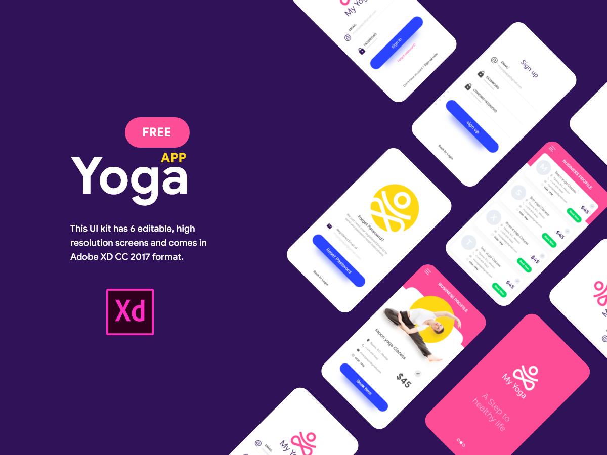 瑜伽健身App Uikit工具包Yoga App Ui Freebie