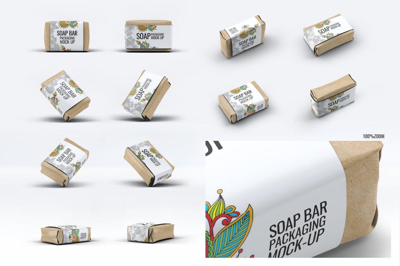 肥皂条纸套包装样机素材多角度展示效果  Soap Bar Paper Sleeve Packaging Mock-Up