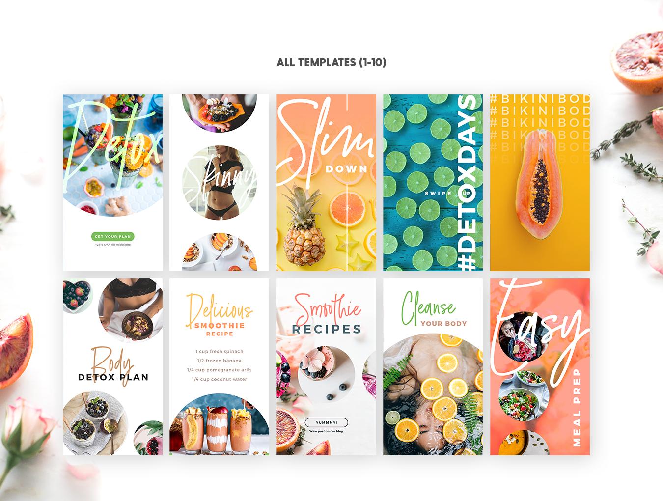 时尚饮食美食行业外卖APP UI设计 Detox Week Insta Stories