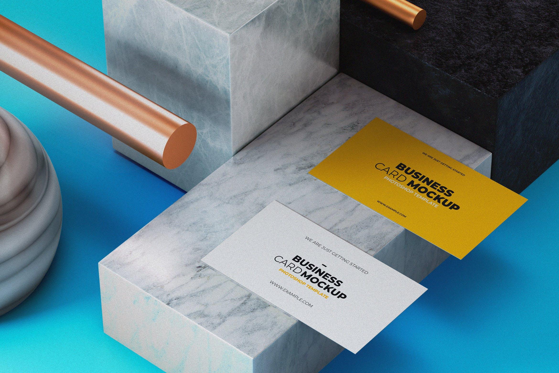 高端名片展示场景样机模板  素材样机Business Card Mock-Up Template