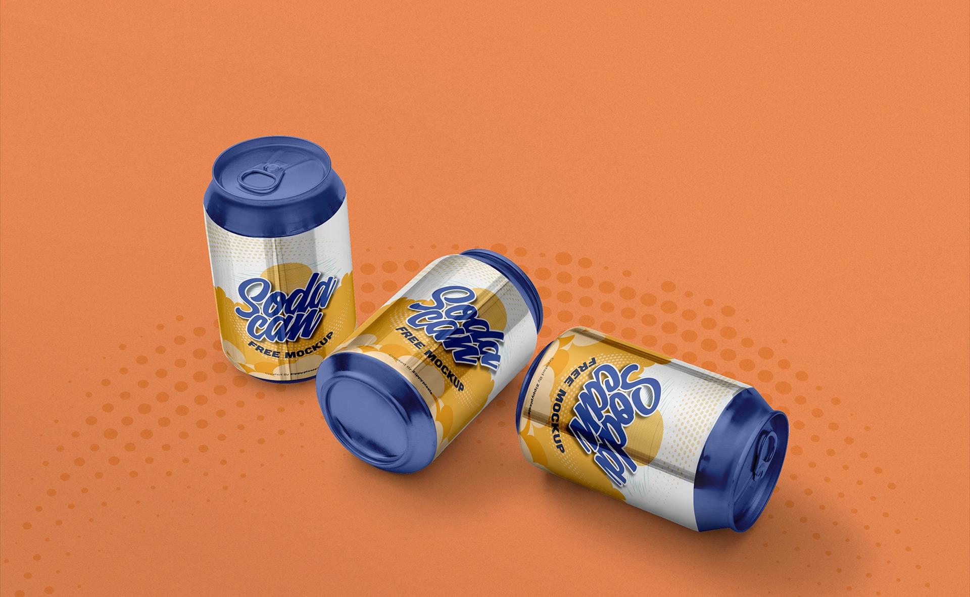 饮料易拉罐类样机模型展示  智能贴图样机360-soda-can-small-mockup