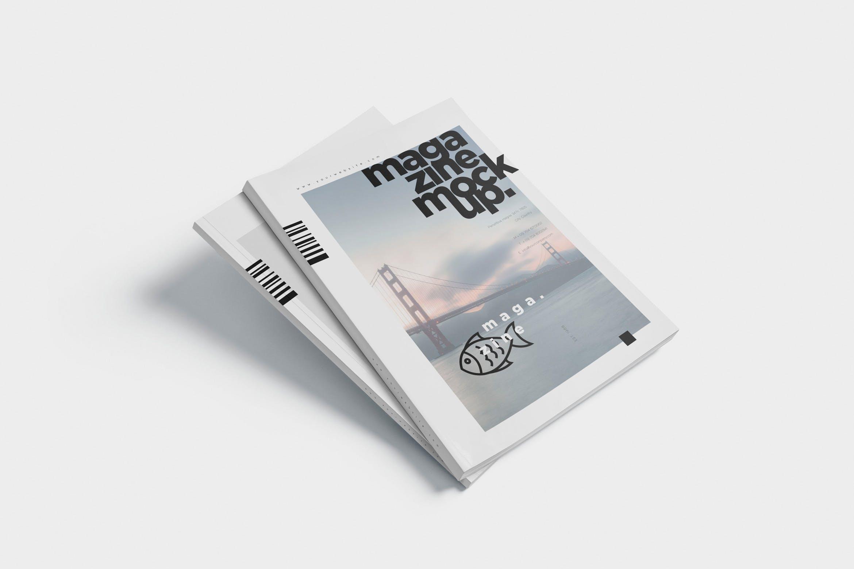 时尚杂志智能贴图样机素材  模板样机 Magazine Spread Mockups插图