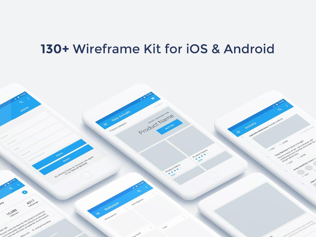 一款多种格式的Baseframe线框图UI KIT 130 ++