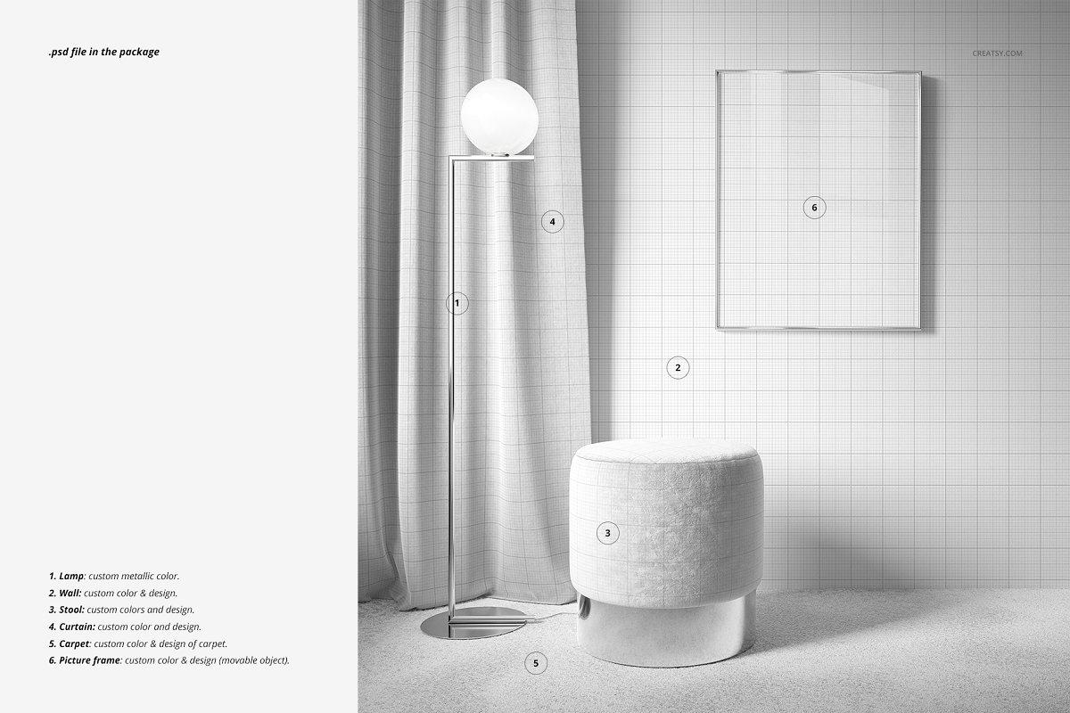 高端窗帘吊帘家装家居精品花纹展示样机设计Interior-Scene-Mockup-(01FFv.10)