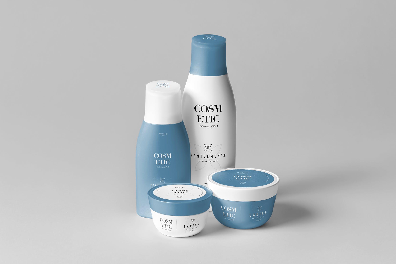 洗化用品套装组合样机模板  智能贴图样机素材Cosmetic Mock-up 8