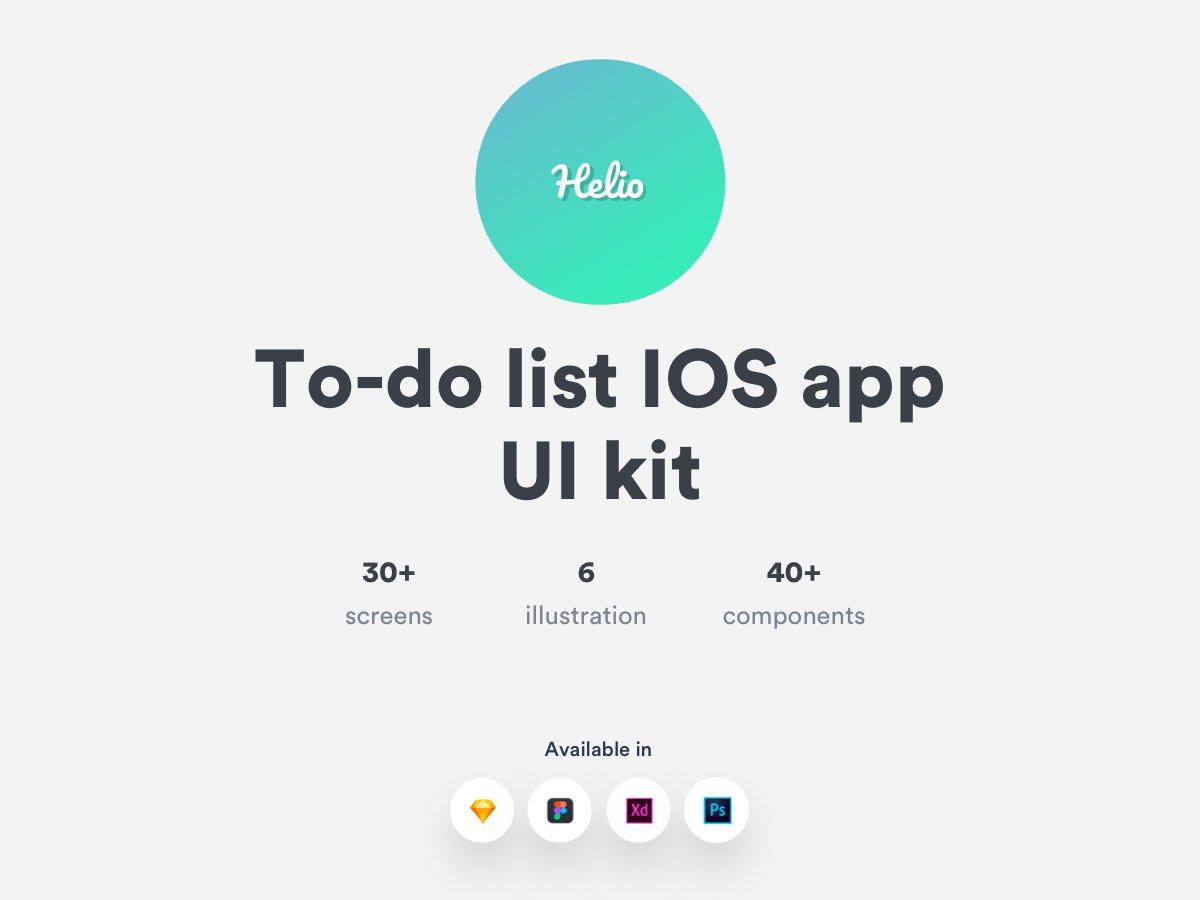 办公效率类APP IOS风格移动应用APP Helio To-do list IOS APP UI kit
