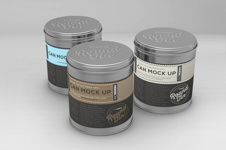 圆形锡罐Vol.1包装样机素材  展示效果图Round Tin Cans Vol.1 Packaging Mock Ups