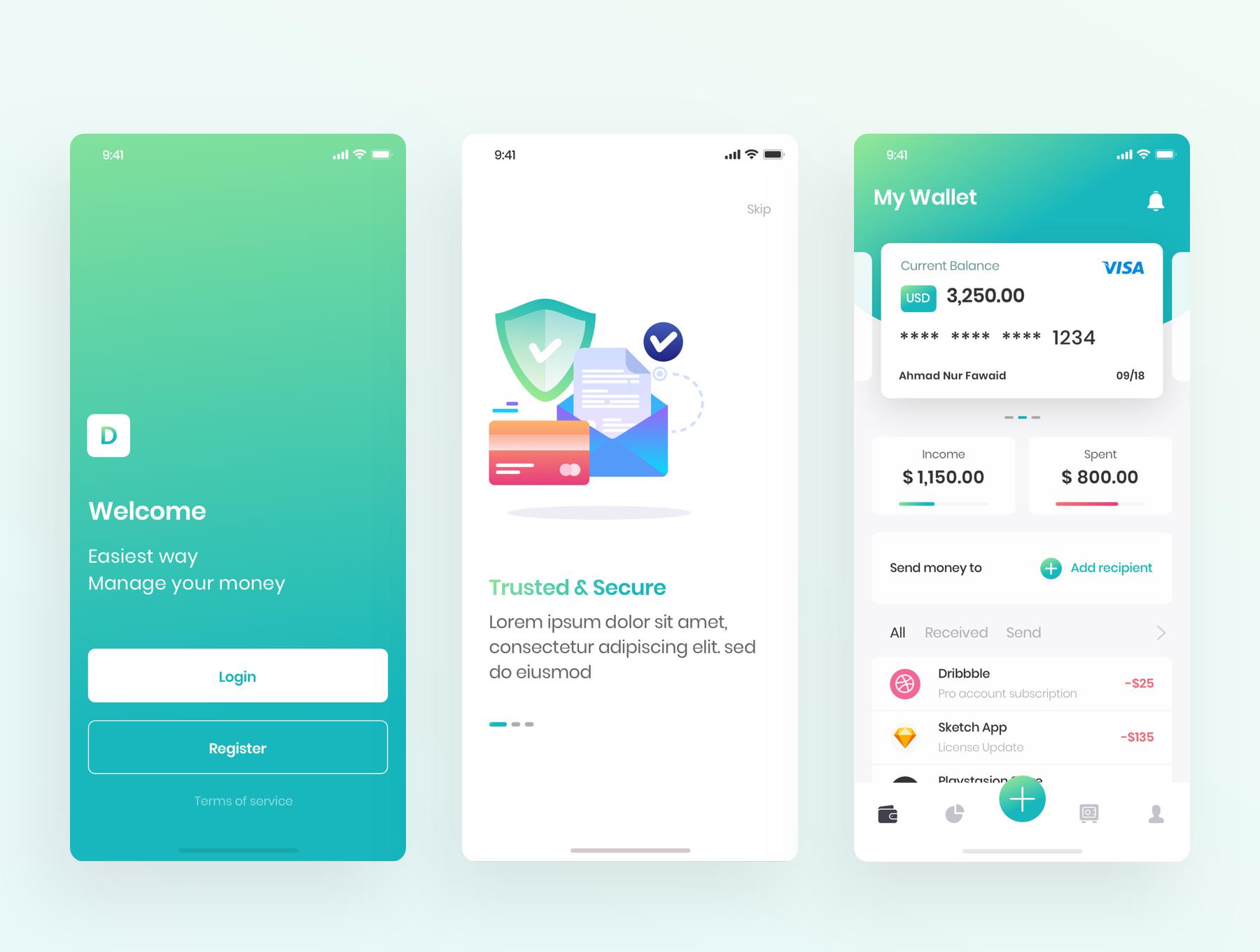 金融财务管理钱包工具界面设计[Sketch]Kaya Wallet App