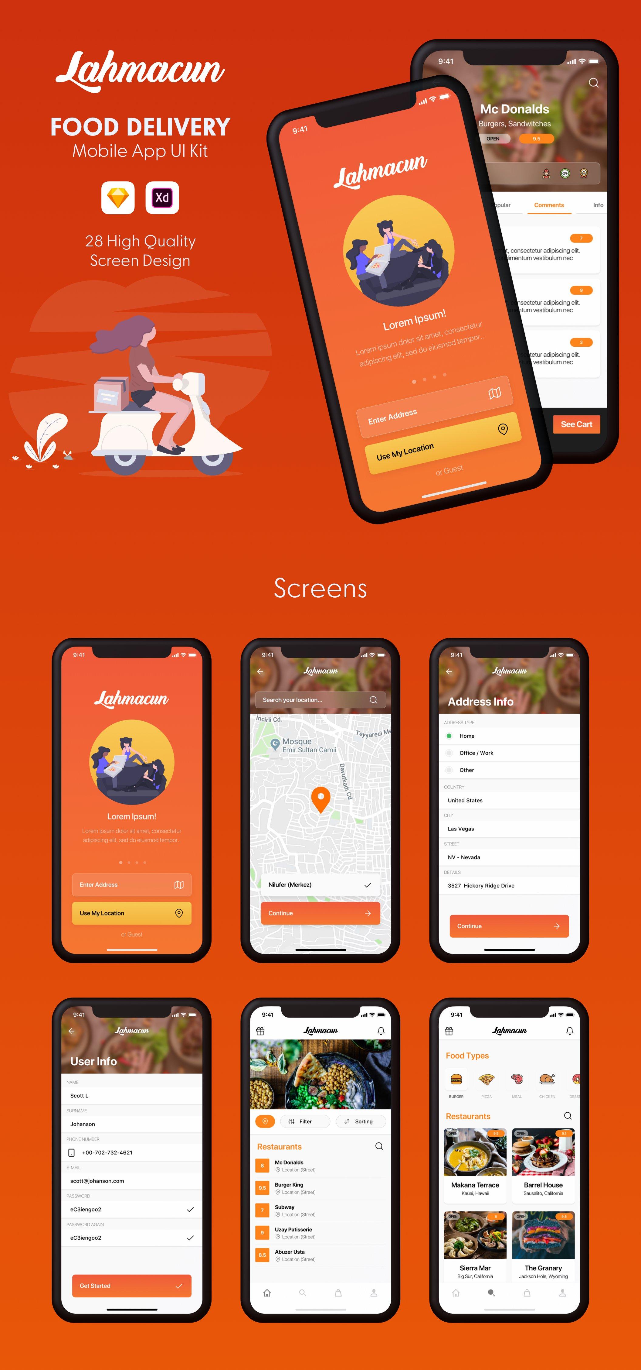 食品配送移动应用UI  Lahmacun - Food Delivery Mobile App UI Kit