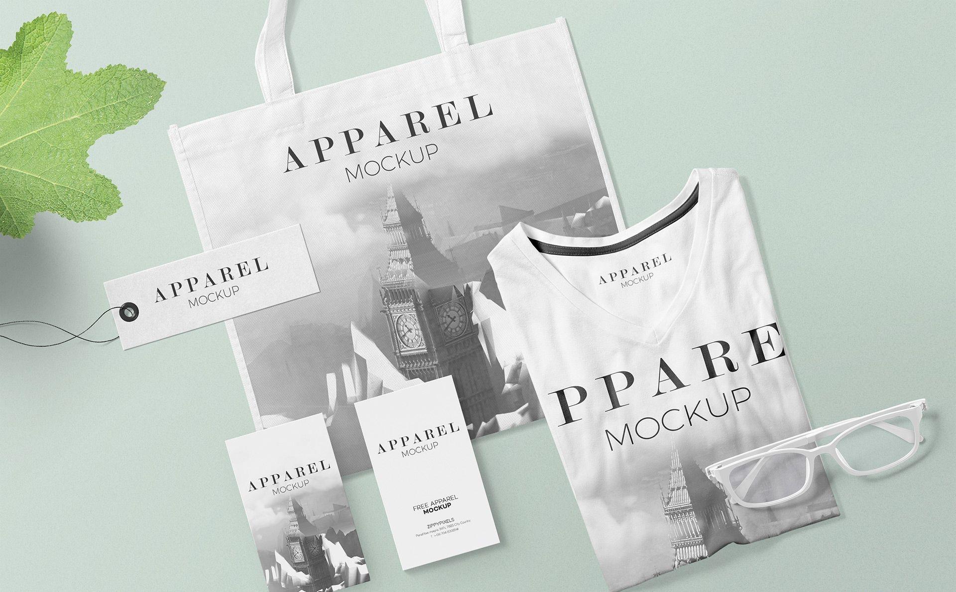 多彩服装及手提袋样及标签场景样机展示 Modish Apparel Mockup