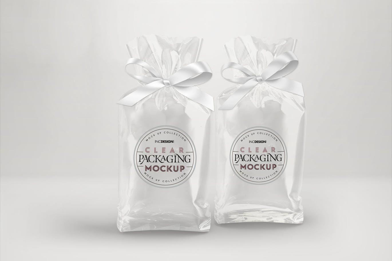 透明糖果袋与丝带包装袋子设计样机
