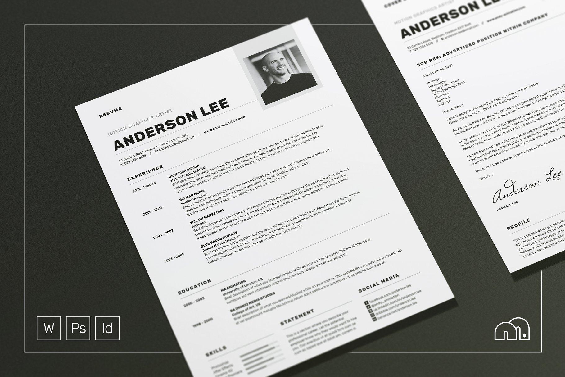 个性互联网专业人才简历设计师简历模板 ResumeCV-Anderson