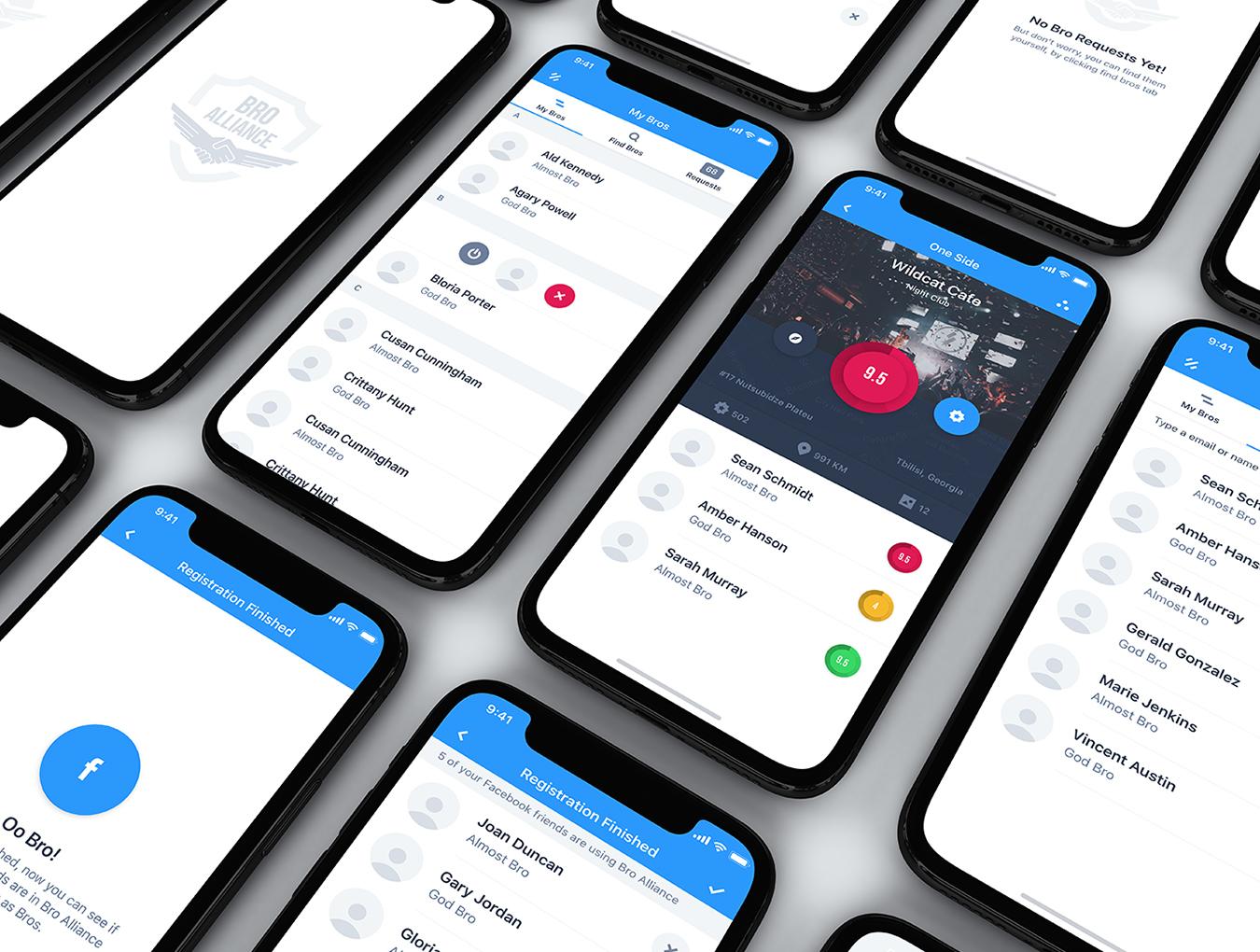 IOS11风格蓝色社交行业APP Bro Alliance iOS UI Kit
