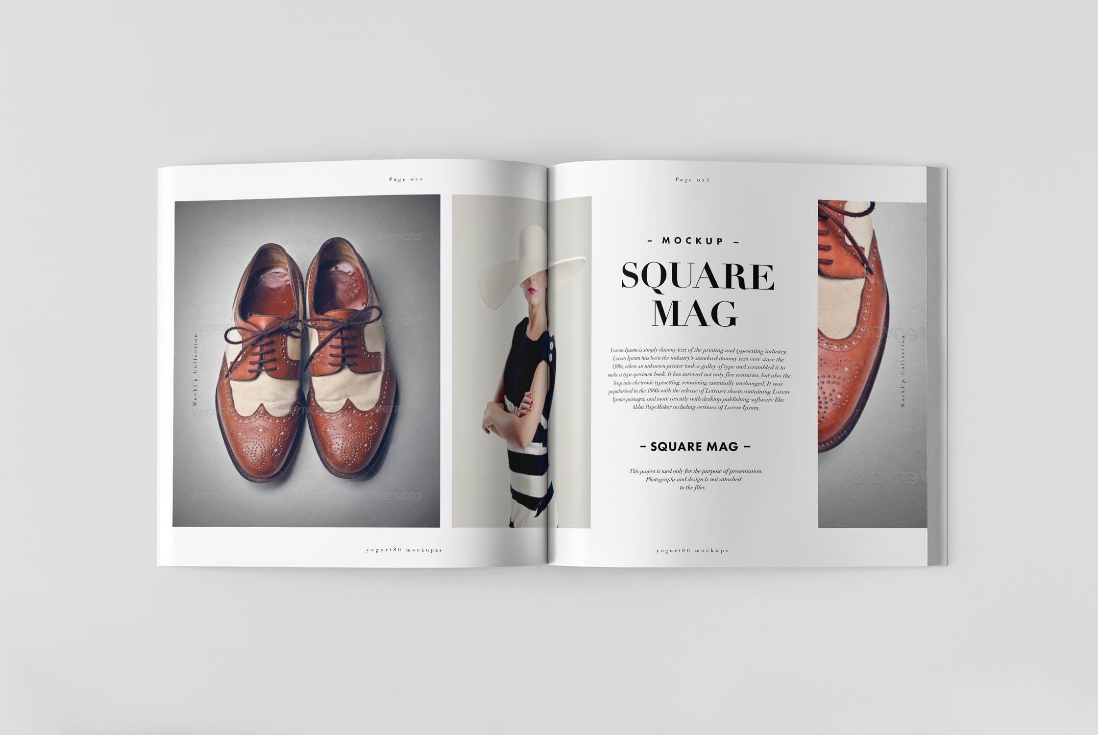 男性时尚高端杂志样机模板展示Square Magazine Mock-up