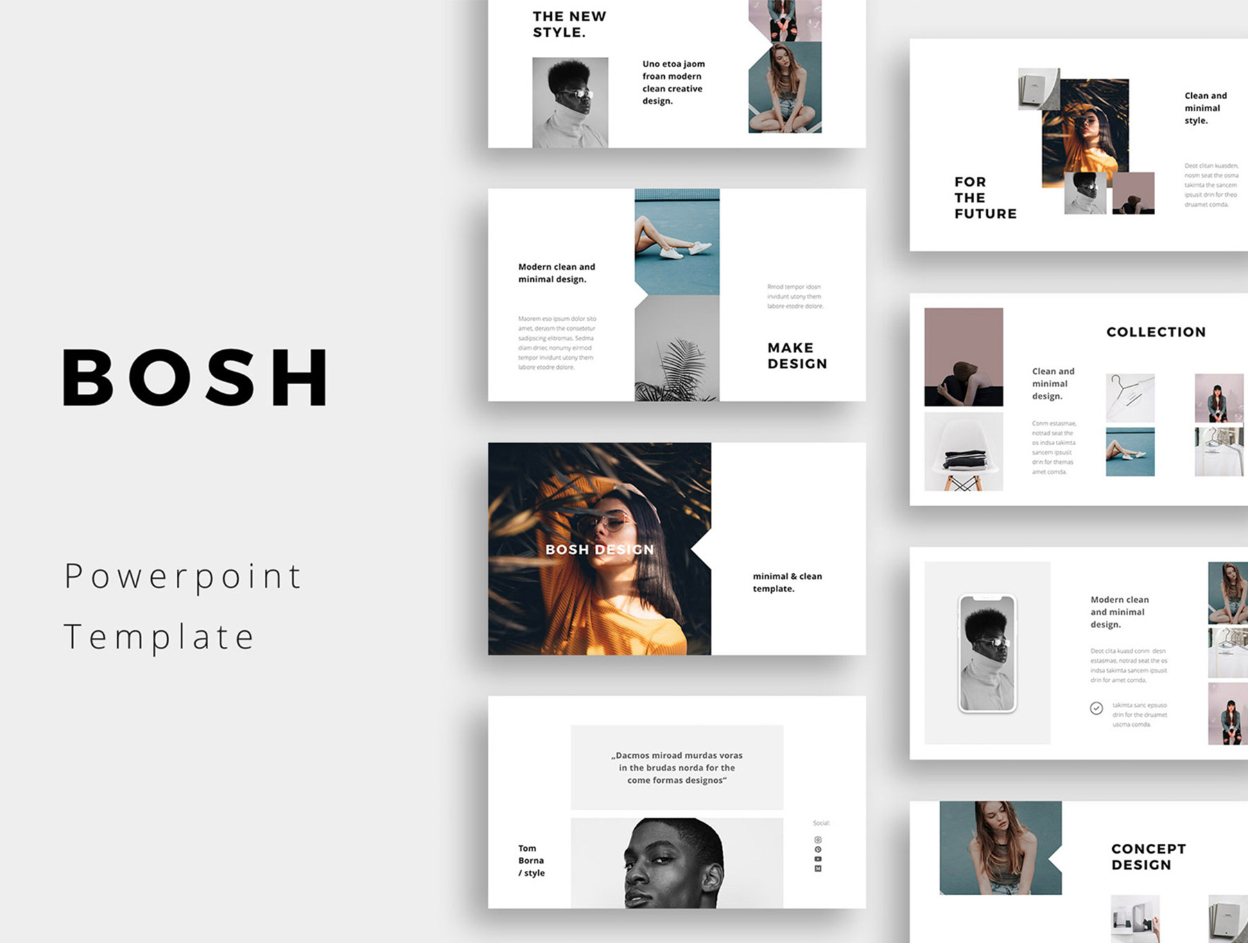 简约极致生活类Powerpoint演示模板BOSH - Powerpoint Template