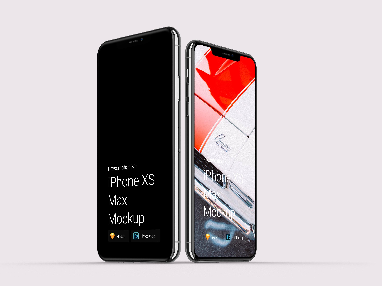 UI作品包装样机iPhone Xs 和 iPhone XR 智能贴图psd [PSD & SKETCH] iphone x xs xr mockup
