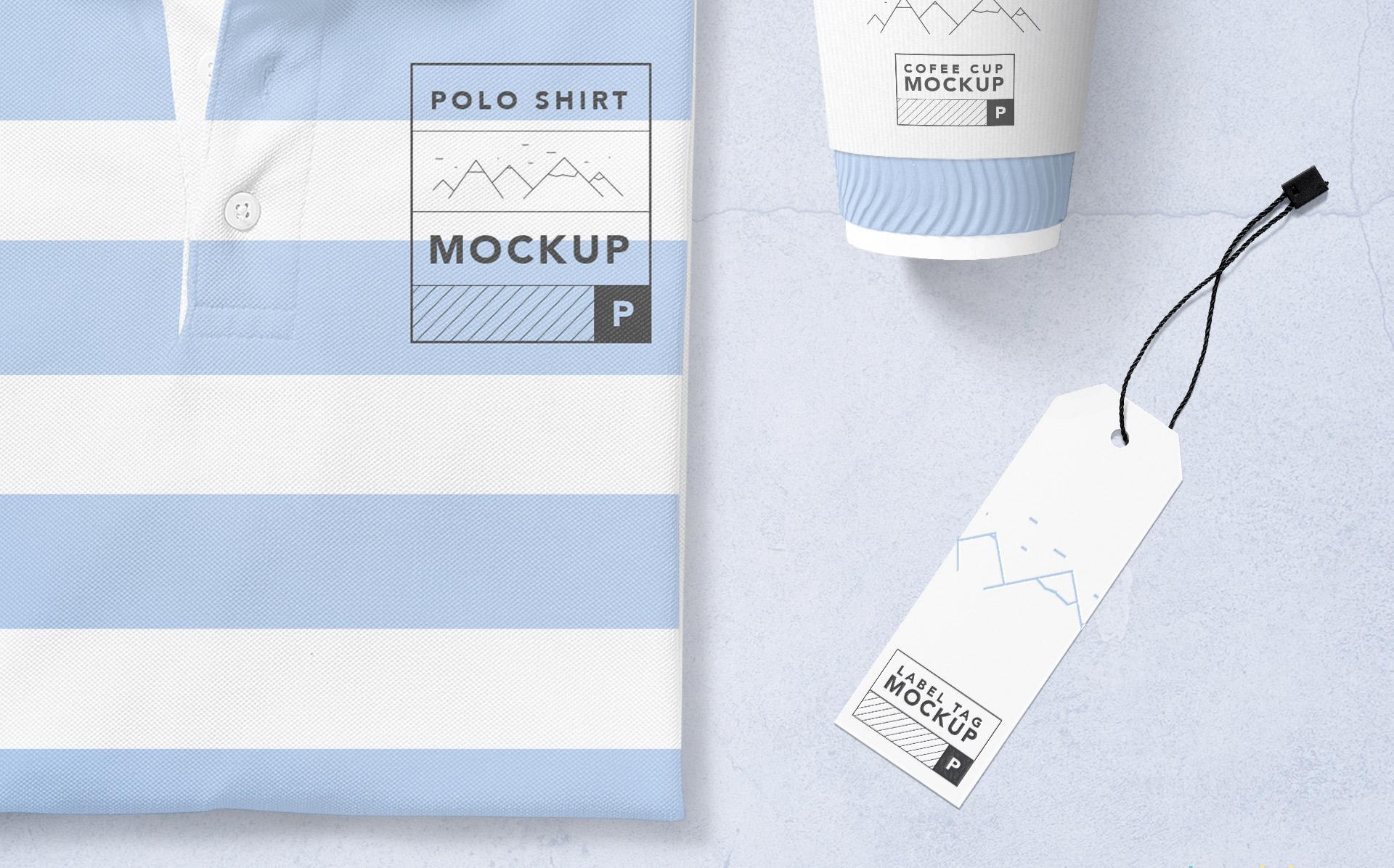 现代马球T恤样机  品牌VI样机Modern Polo T-Shirt Mockup