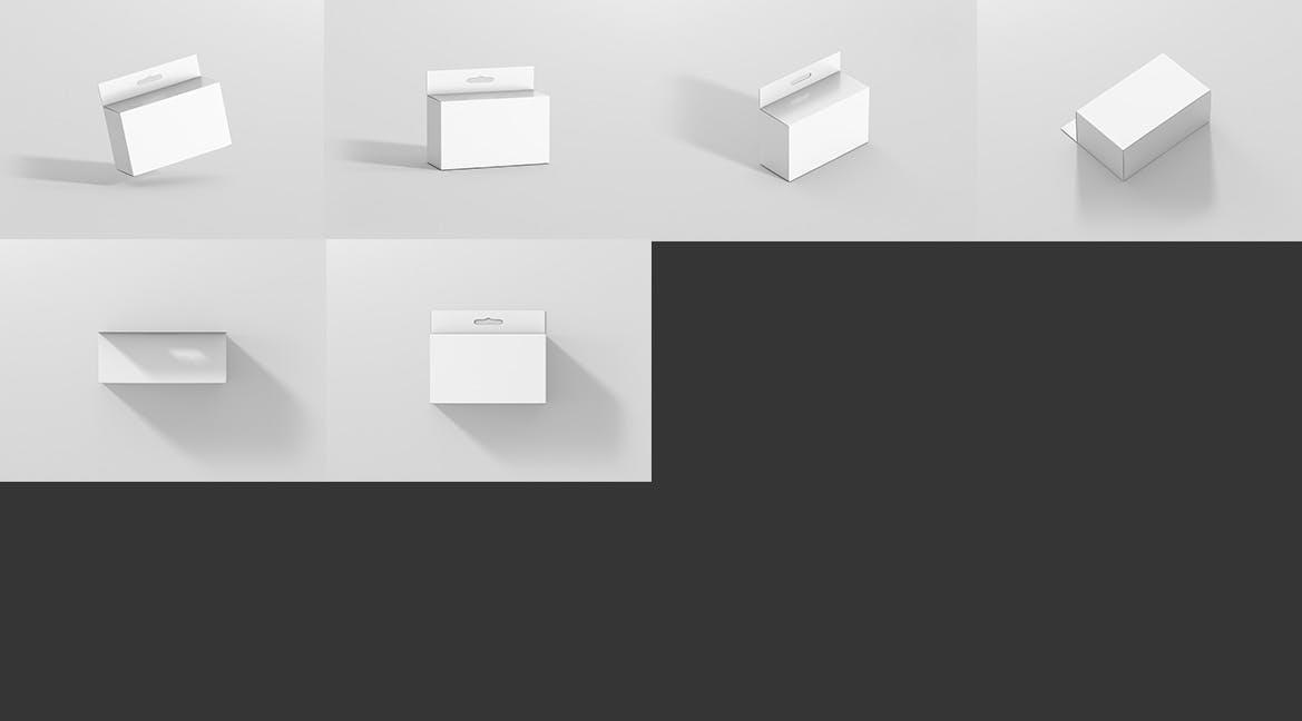 药品包装盒样机 素材智能贴图样机模板Package Box Mockup - Slim Rectangle with Hanger