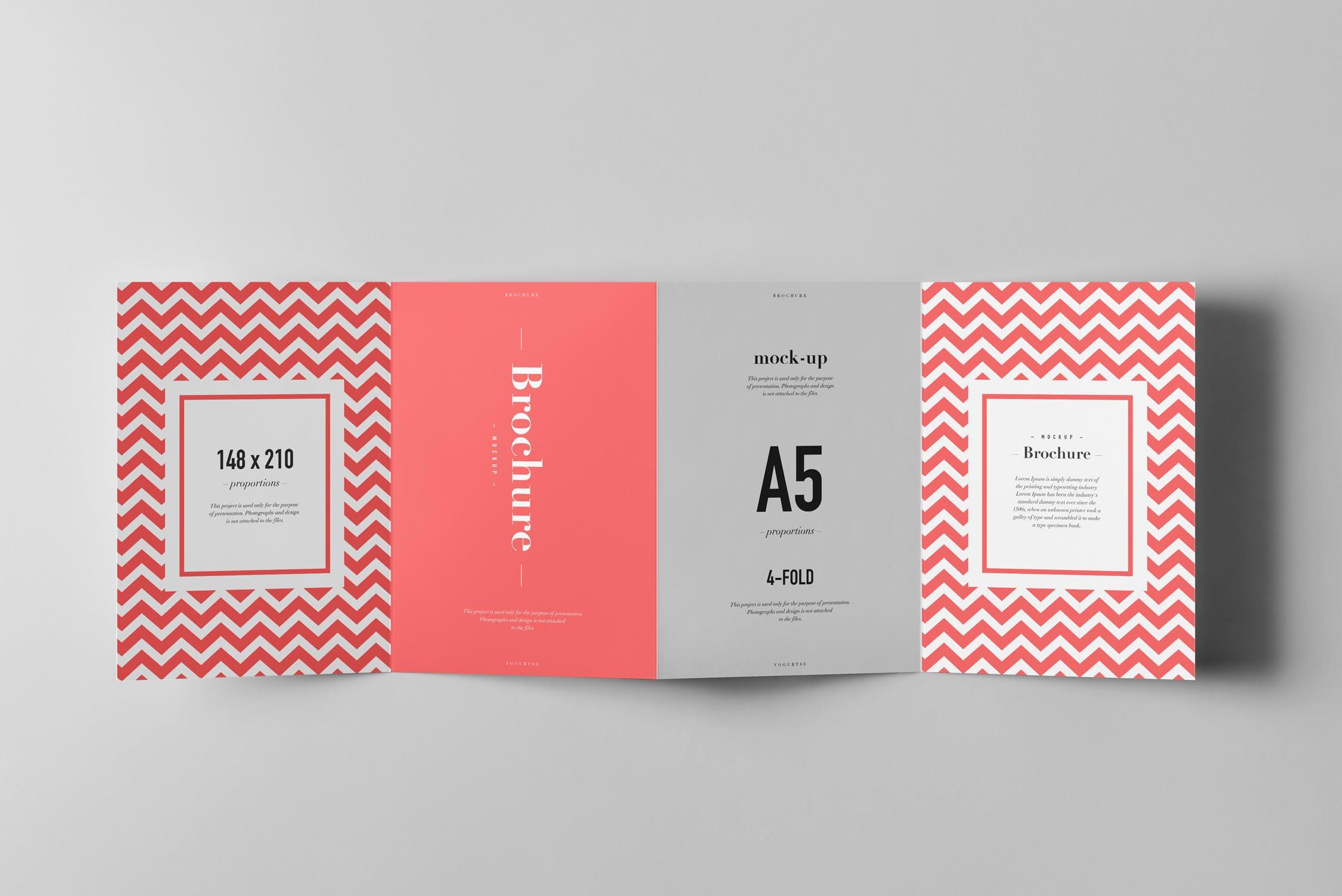 企业四折页A5手册样机效果图展示模板 Four-Fold A5 Brochure Mock-up