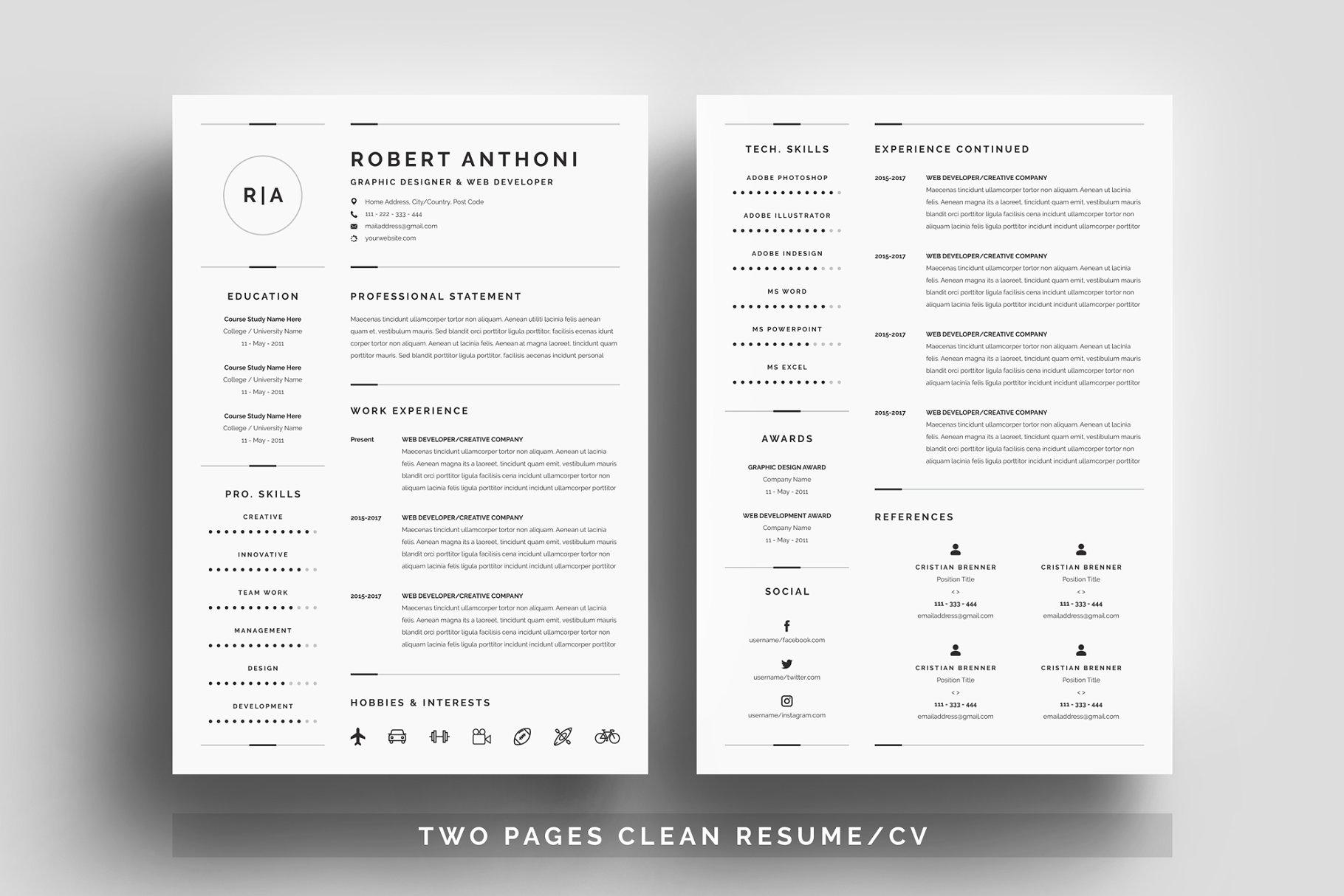 职场简约设计简历模板展示3-Pages-Clean-ResumeCV-Template