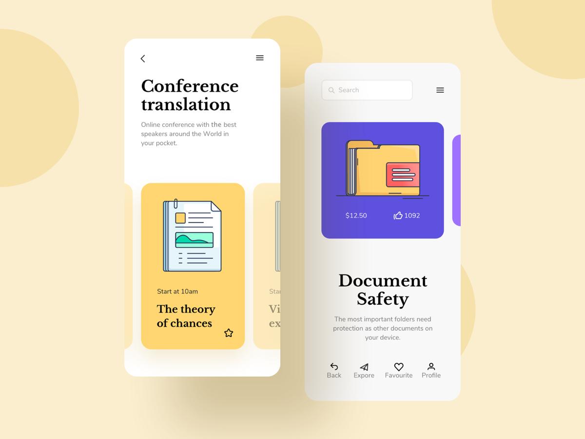 精致描边风书籍类产品介绍界面UI界面Document and Papers Illustrations by Craftwork