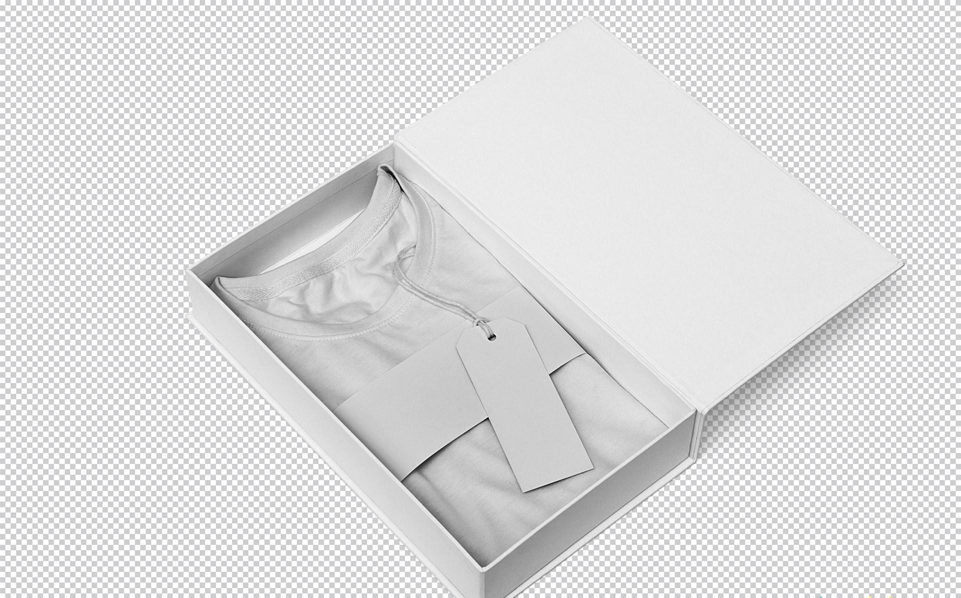 T恤衫包装盒插画展示样机&插画 智能贴图样机Stunning Tee Shirt Mockup